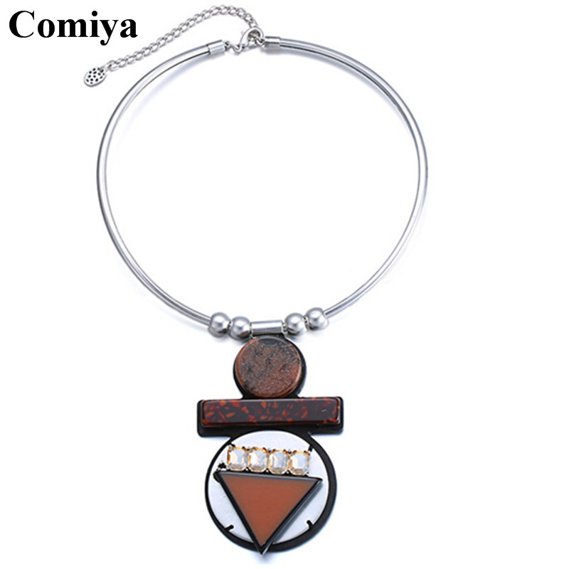 Comiya new fashion brown colour big pendant necklaces resin handmade exaggerated collier bijoux femme necklace women colares(China (Mainland))