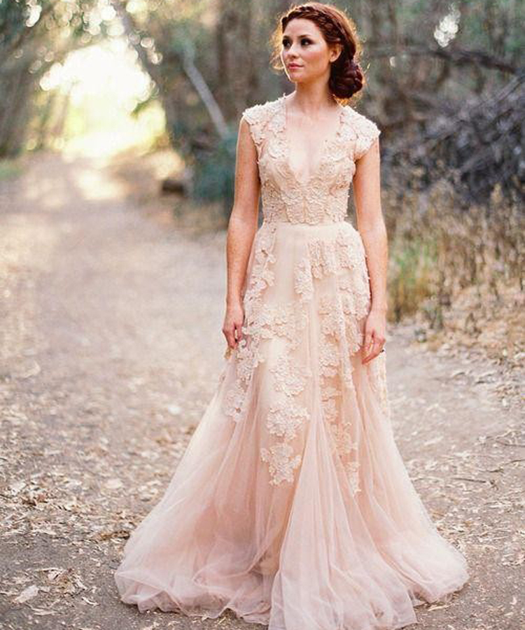 Modern Country Chic Wedding Dress : Aliexpress buy new arrival country style a line cap sleeve v