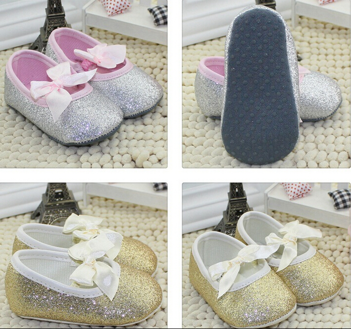 New Sweet Newborn Baby Girls First Walkers Shoes Bling bling Bow Princess Pre walker Shoes Anti-slip Toddler Shoes(China (Mainland))