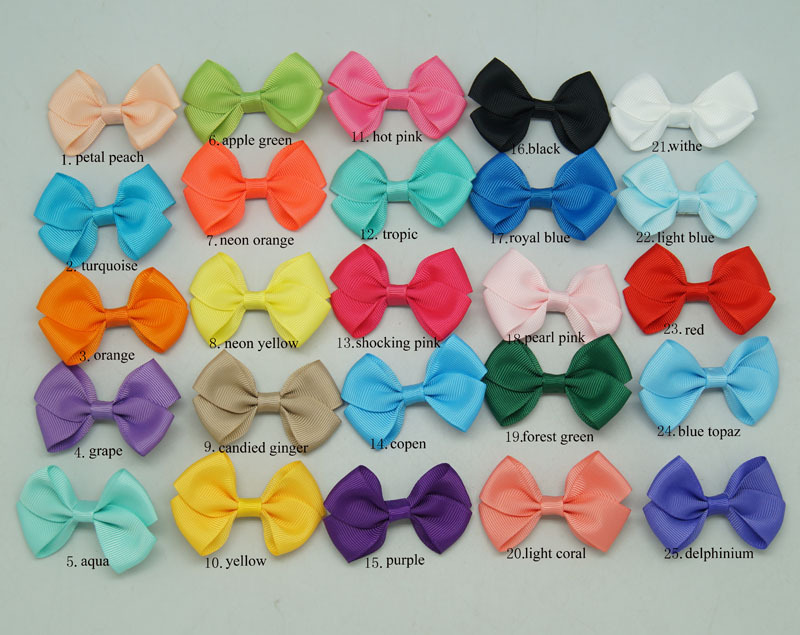 1Pcs 25COLORS Solid Mini Hairbows For Baby Girls Lovley Hair Accessories Hair Clips Ribbon Hair Bows For Baby CNHBW-14022201()