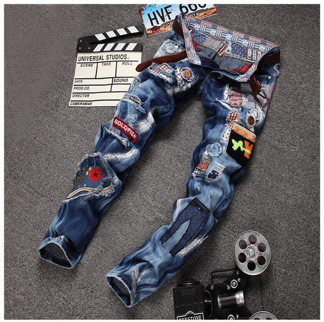 Европейских Американский стиль мужская мода джинсы известная марка класса люкс качество ...