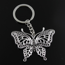 Buy new fashion men 30mm keychain DIY metal holder chain vintage hollow butterfly 60*48mm antique silver pendant for $1.15 in AliExpress store