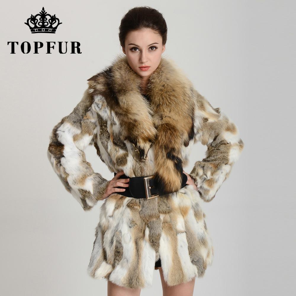 качество кролика Пальто с енот мех