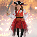 2017 New Halloween Christmas Gift Pirate Costumes Girls Party Cosplay Costume for Children Kids Clothes Performance