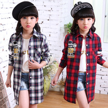 2016 New  Girls Spring Summer  Clothes Red Plaid Shirt Blouse  Girls Clothes Shirts  Children Clothing 4-15 Years Kids Clothes
