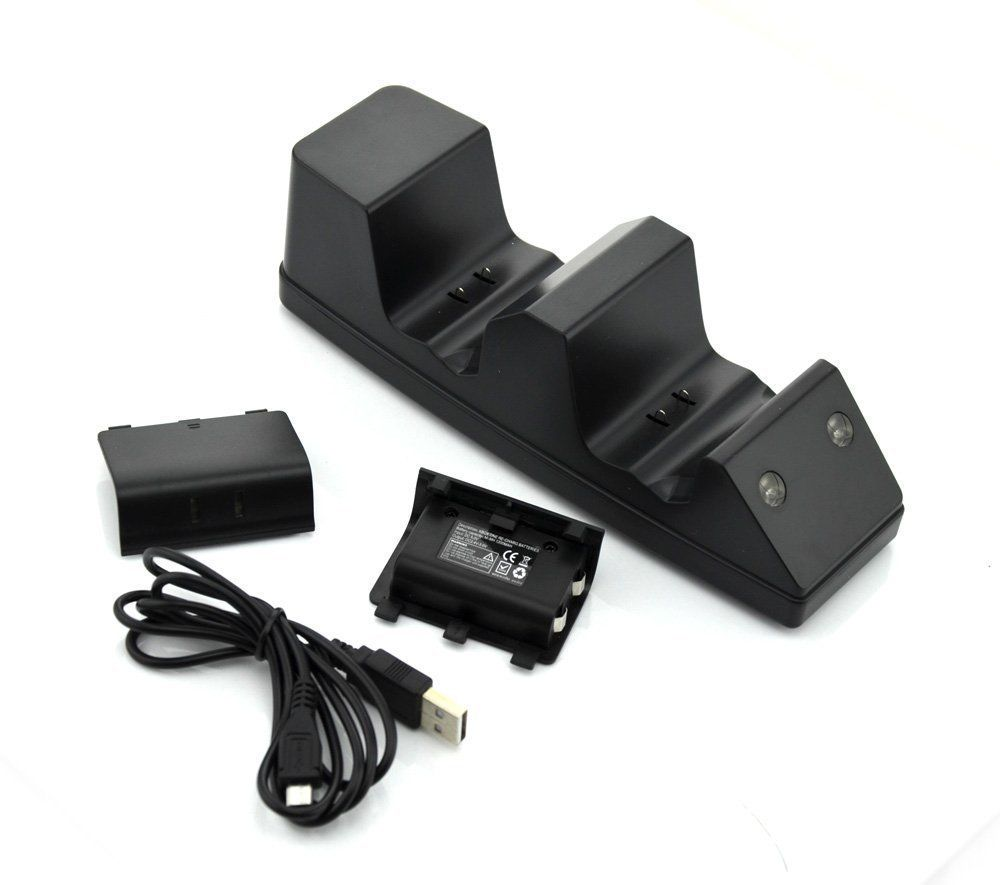 5pcs New for Xbox One Twin Docking Station with 2 x Rechargeable Battery Packs(China (Mainland))