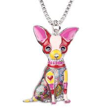 Bonsny Maxi Pernyataan Logam Paduan Chihuahua Anjing Enamel Choker Kalung Rantai Kerah Liontin Fashion Baru Perhiasan Untuk Wanita(China)