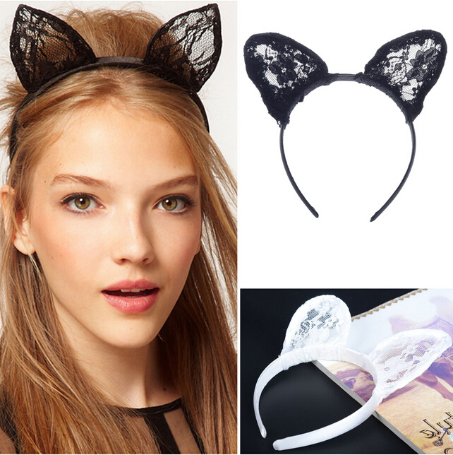 Women Girls Fashion Sexy Black Lace Cat Ears Hair Band Headwear Accessories Head Bands For Party Cosplay Christmas Gift(China (Mainland))