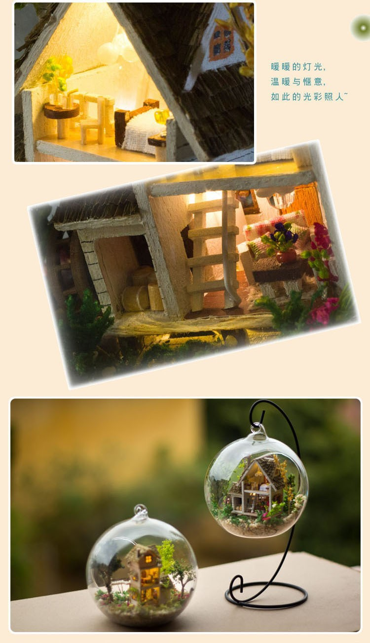 G015 DIY doll home miniatura mini glass ball mannequin constructing Kits picket Miniature Dollhouse Toy Present Forest Villa free delivery