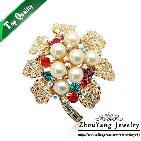 ZHOUYANG ZYX012 Imitation Pearl  Champagne Gold Plated Brooches Jewelry Austrian Crystal  Wholesale