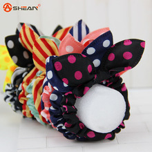 5pcs/lot Original Head Flower Hair Accessories Headdress Korea Trinkets Rabbit Ears Fabric Polka Dot Rubber Band Hair Rope Ring(China (Mainland))