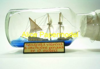 [Alice papermodel]Ship in a Bottle Venice boat Galleon Sailing sailboat warships yacht junk models