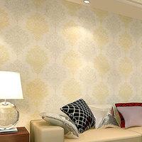2015 of Wall Paper Damascus Luxury European Environmental Non-woven Wallpaper Background The Living Room Tv Sofa Ha-881 53cm