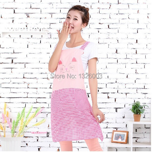 Fast Shipping 2015 Women Wholesale Waterproof Sleeveless BBQ Multi Colors Trendy Cute Cat Pink Yellow Green Waist Apron with bag(China (Mainland))