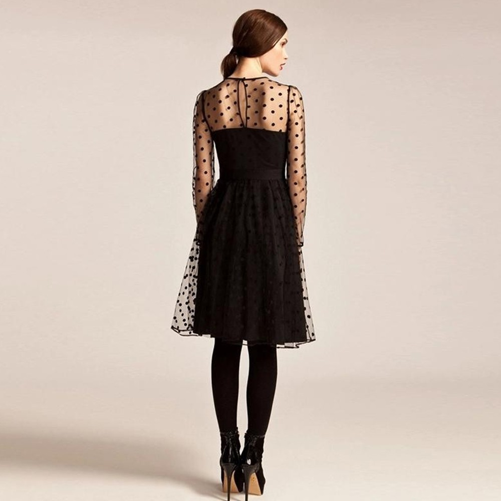2016 Spring Net Yarn Dresses Party Elegant Polka Dot Dresses Sheer Design Long Sleeve Midi Mesh Transparet High Quality W850449 (5)