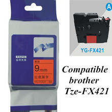 9mm*8m black on red Tze-FX421 flexible ID tapes compatible brother  label tape  P-touch printer Ribbons Printer Supplies
