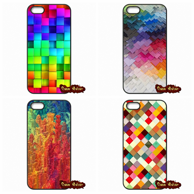 For iPhone SE 4 4S 5S 5 5C 6 6S Plus Samsung Galaxy S2 S3 S4 S5 MINI S6 S7 Edge Note 3 4 5 blocks rainbow 3d graphics Case Cover(China (Mainland))