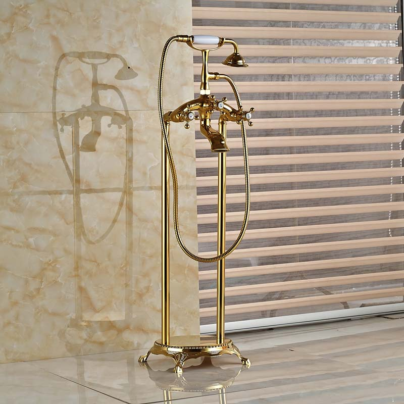 clawfoot tub faucet floor mount. Polished Brass Freestanding Floor Mounted Clawfoot Tub  Deck Mount Faucet Amp Adjustable Shower Gold Pvd