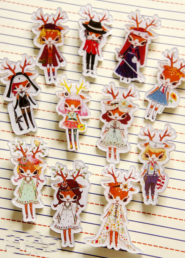 Japan Korea Style Harajuku alce Deer Girl Fashion Deer School Party Deer Figure Character Acrylic Badge Brooch(China (Mainland))