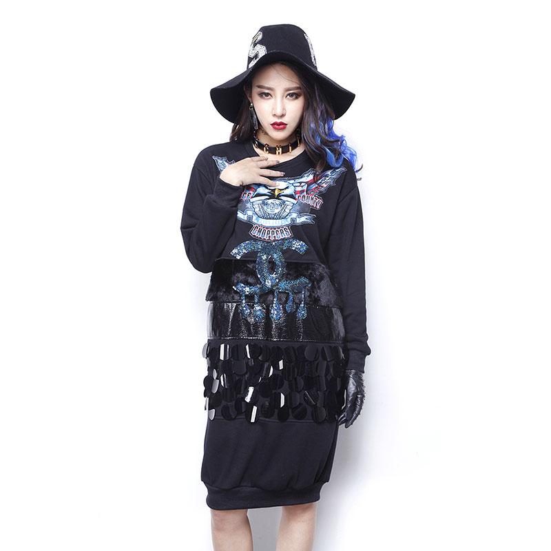 Melinda Style 2016 New Spring Fashion Eagles Printed Women Dress Sequins Beaded Dress Black Long Sweatshirt female 1501Одежда и ак�е��уары<br><br><br>Aliexpress