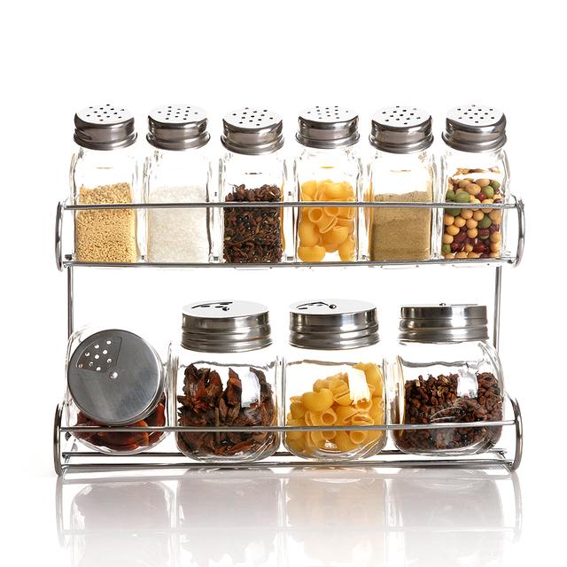Glass spice bottle kitchen supplies seasoning box sealed cans shelf  10 piece set