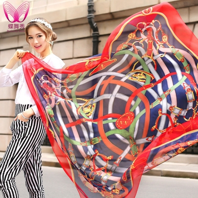 2015 hot sale romantic female 130*130cm chiffon silk cape shawls and scarves sunscreen beach cover up wrap scarf hijab free ship(China (Mainland))