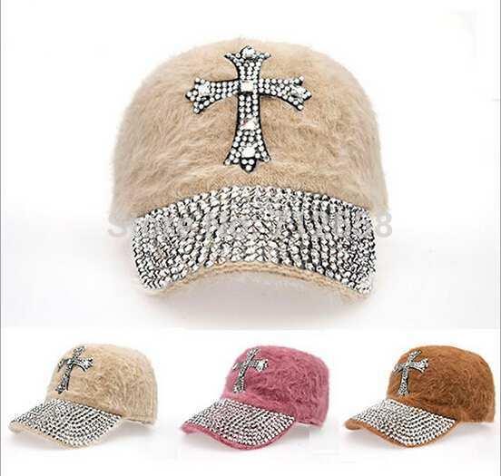 Full Rhinestones-brim Design Men Women Cross Baseball Caps Winter Warm Rabbit Hair Baseball Cap 3 Colors FS3697(China (Mainland))