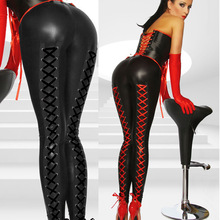 2015 New Women Sexy Stretchy Lingerie Black Faux Leather Lace Up Leggings Wet Look Clubwear Fashion Gothic Pants Free Shipping(China (Mainland))