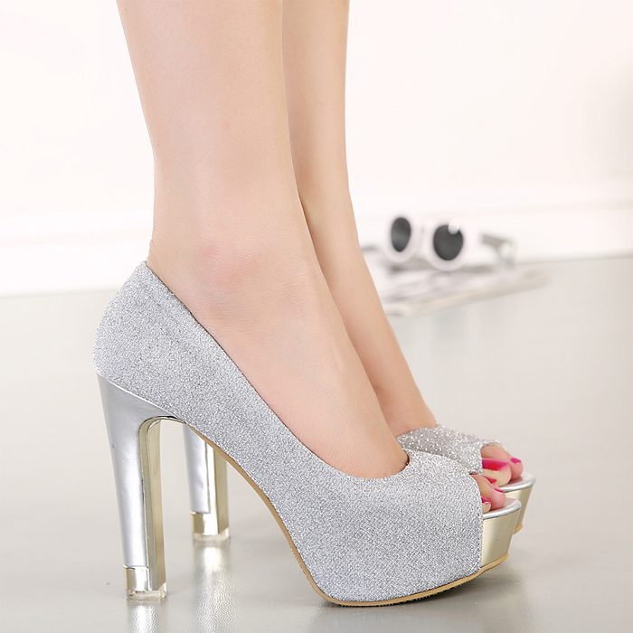 Open toe high-heeled shoes 2014 women's ultra high heels princess female thick open single - Love beauty foot store