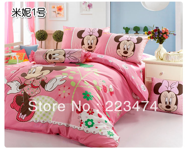 Free shipping!100 cotton mickey and minnie mouse queen size king size 4pcs  bed sheets bedding sets duvet cover bedclothes