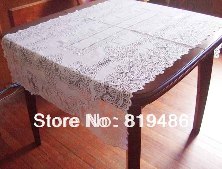 """Free shipping floral lace table cloth 140*80cm(55""""*32"""") Square 100% polyester white color(China (Mainland))"""