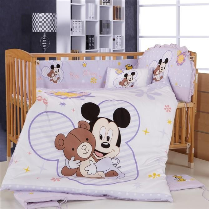 Promotion! 8PCS Mickey Mouse baby bedding sets ,crib bedding sets for kids, <br><br>Aliexpress