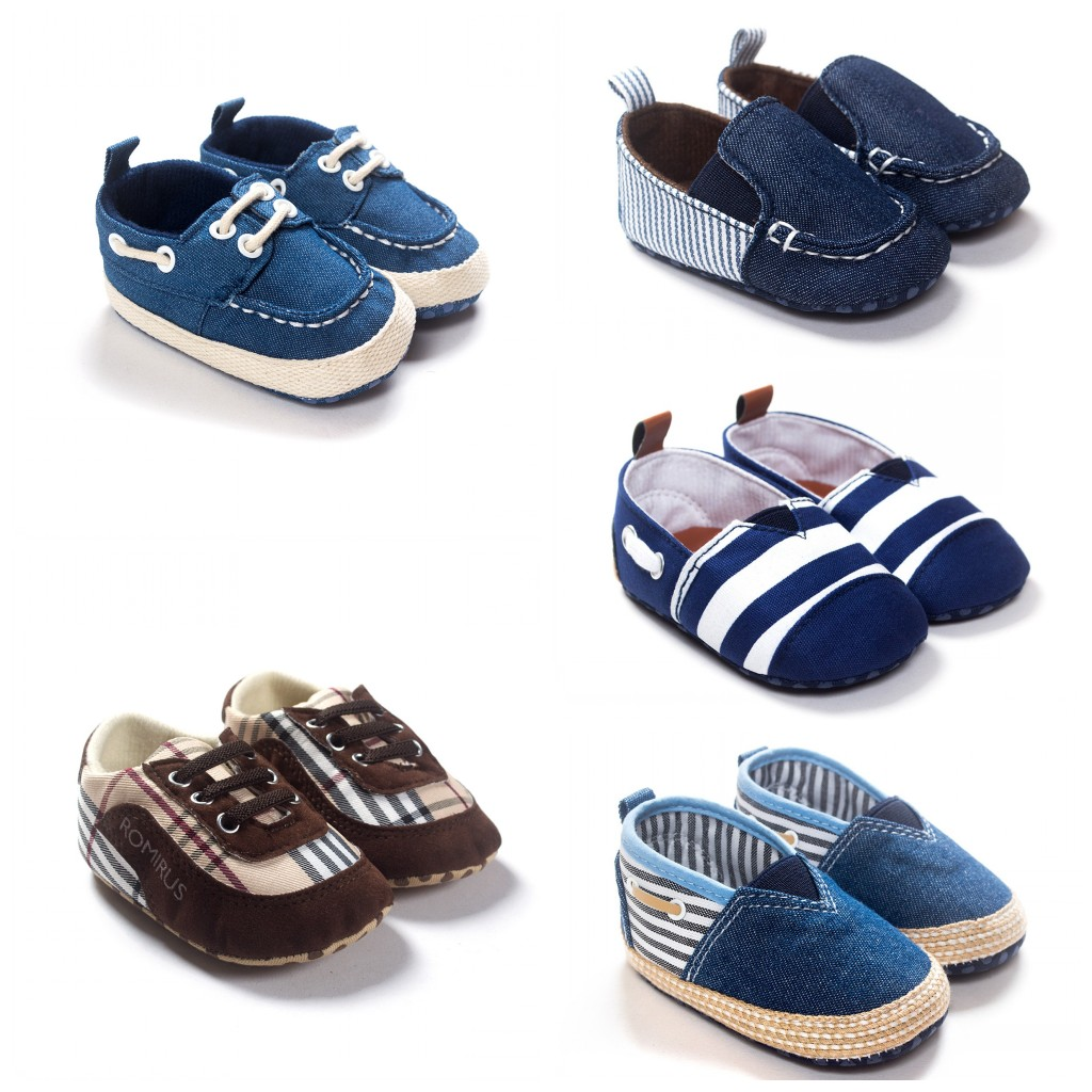 2016 Fashion Canvas Baby Shoes Stripe Checkered Sneakers Boy Girls Toddler Cotton Kid's 1085 - Pretty baby online shopping store