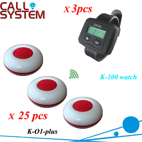 2015 Waiter button calling system 3 wrist pager with 25 pieces guest buzzer for service(China (Mainland))