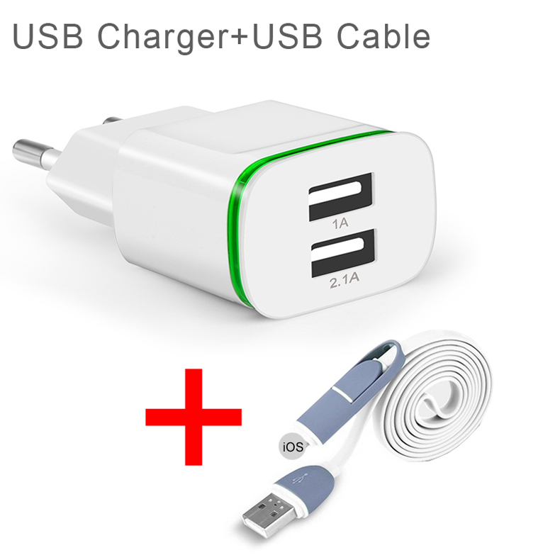 EU Plug Wall Adapter 2-Ports USB LED Light Charger + 2in1 USB Cable Charging For iPhone for Huawei for Cell Phone USB Charger