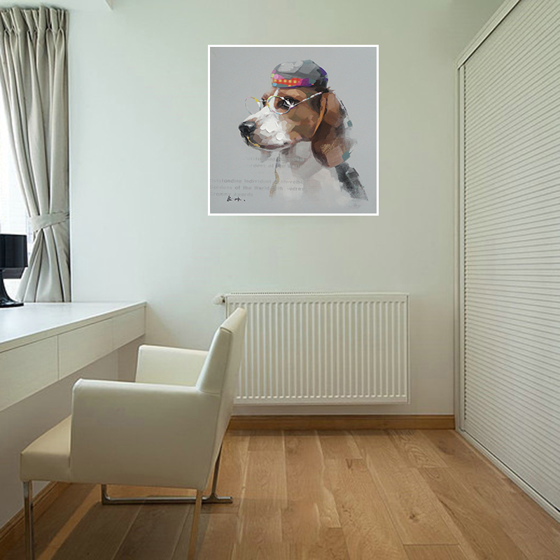 Hand Painted Oil Paintings Fashion Dog With A Hat And Glasses Modern Canvas Art Picture Luxury Wall Decorative No Frame AWL03-4(China (Mainland))