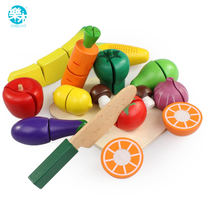15PCS/SET Wooden Kitchen Toys Cutting Fruit Vegetable Play Food Kids Wooden fruit Toy fruit and vegetables food toy(China (Mainland))