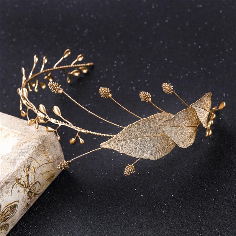 Baroque Crown Leaf Tiara Bridal Headpiece Hair Accessories Jewelry Diademe Mariage Bijoux Cheveux Corona Casamento WIGO0734 <br><br>Aliexpress