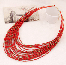 Collier Femme for 2015 Fashion Boho Necklace Women Jewelry Beads Multi layer Choker Statement Necklaces Pendants