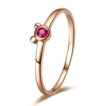 ZOCAI BRAND ZODIAC GEM FIRE SIGNS CUTE BEAR / MOUSE BUST 0.047CT CERTIFIED RUBY BAND RING ROUND CUT 18K ROSE GOLD