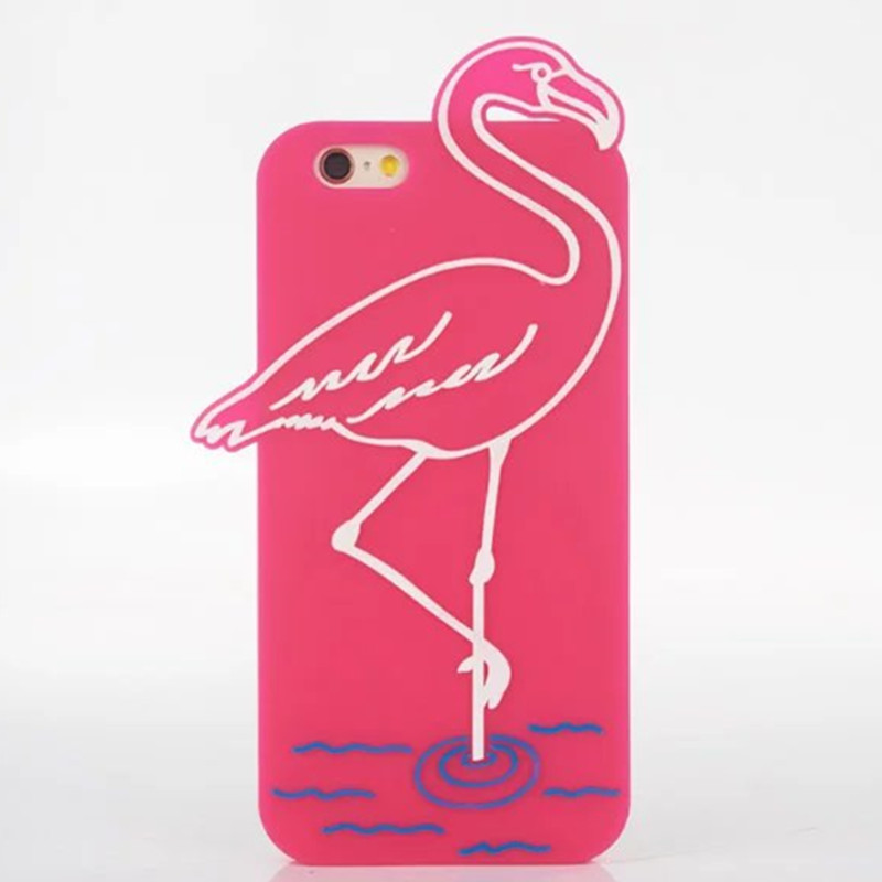 Red Flamingos Soft Silicone Case for iPhone 6 6S 4 7 Drop Resistance Fashion Rubber Phone