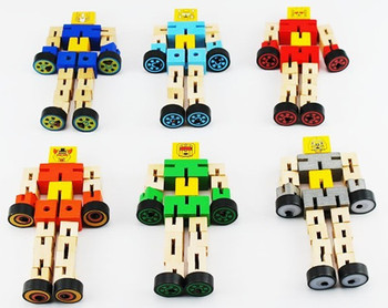 New 6 styles/lot wood Deformable robot wooden car educational toys for baby/kids/children