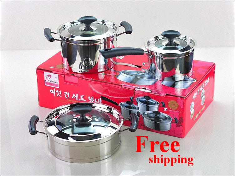 Free shipping Top Quality 6PC Of Straight Shape Stainless Steel Capsule Induction Base Cookware Set(China (Mainland))