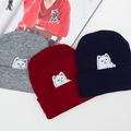 2016 New Fashion Cotton Adult Winter Fur Ball Women Hats Lady Knitted Hat Character Horse Wool Bonnet Thick Beanie for Girls