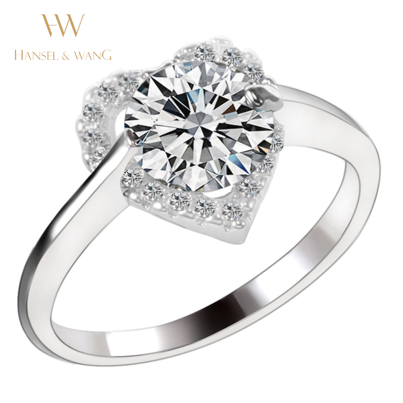 Heart Gild Silver Plated Womens Stainless Steel Wedding Rings for Women Ring