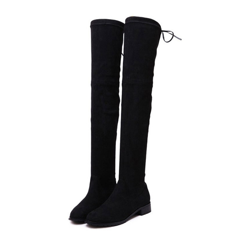 2015 Fashion New Low-heeled Boots Winter Boots Thicken Female High Boots Stretch Suede Knee Boots  Top Quality N020