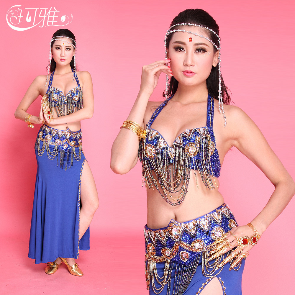 Performance Women Belly Dance Costume Sequin Bra Pants Waist Chain Clothes Indian Belly Dancing Stage Gypsy Skirt LD194