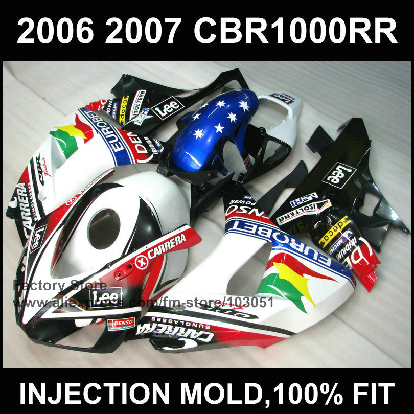 7gifts custom 100% injection Motorcycle Fairings kit for HONDA 06 07 CBR 1000RR 2006 2007 CBR1000RR EUROBET fairing body parts(China (Mainland))