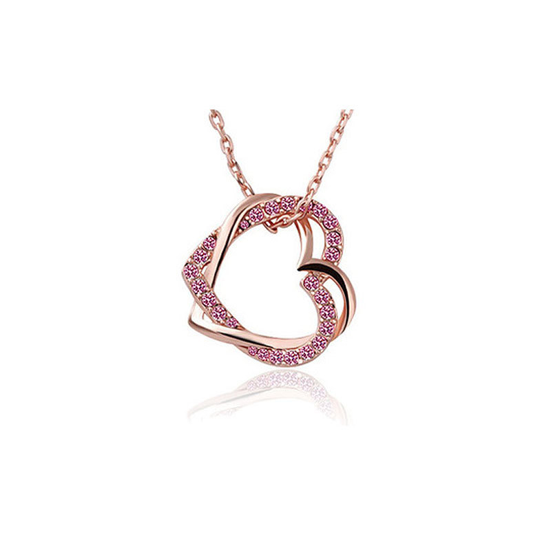 2014 Charm Silver Plated Twisted Double Hearts Pendant Necklaces Crystal Rhinestone Women's Necklace Long Metal Chain PMPJ154P60(China (Mainland))