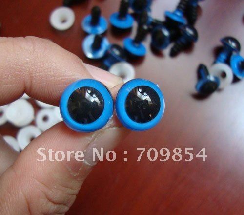 free shipping!!! 500pcs/lot diam 12mmBlue PLASTIC SAFETY ERES with spacer toy eye toy findings#001
